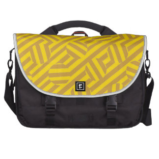 Listras e as bolsas amarelas dos círculos pastas para laptops