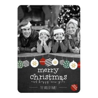 Listras e cartão de Natal da foto dos ornamento Convites