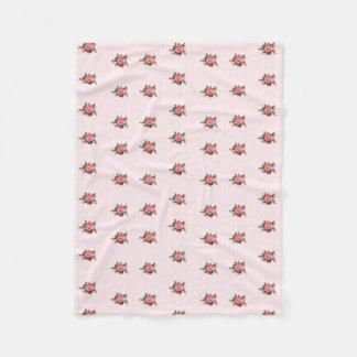 Listras e cobertura cor-de-rosa do velo dos rosas cobertor de lã