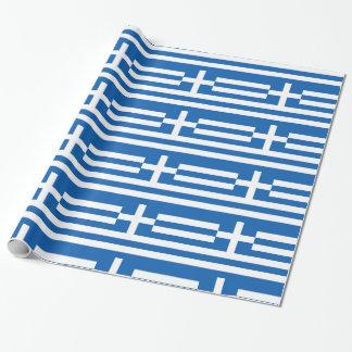 Listras e cruz brancas azuis da piscina papel de presente