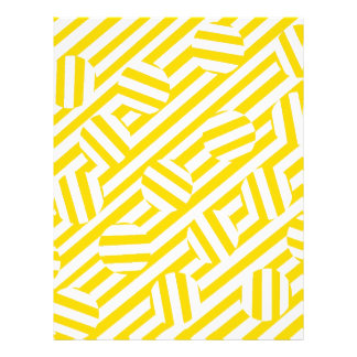 Listras e teste padrão amarelos dos círculos papel de carta