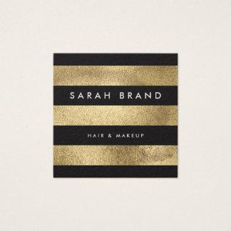 Listras elegantes modernas da folha de ouro do cartão de visitas quadrado