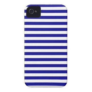 Listras finas - brancas e azuis escuro capa para iPhone
