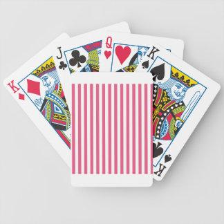 Listras finas - brancas e rosa escuro baralhos de poker