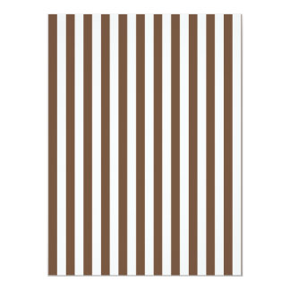 Listras finas - branco e café convite 16.51 x 22.22cm