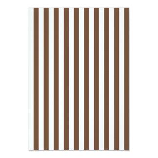 Listras finas - branco e café convite 8.89 x 12.7cm