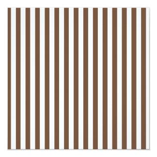 Listras finas - branco e café convite quadrado 13.35 x 13.35cm