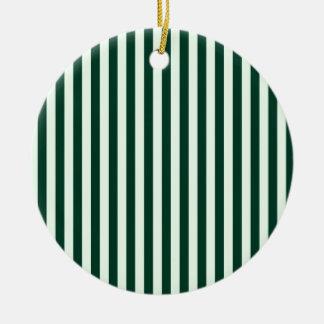 Listras finas - luz - verdes e verdes escuro ornamento de cerâmica redondo
