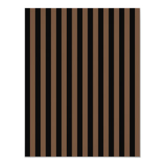 Listras finas - preto e café convite 10.79 x 13.97cm