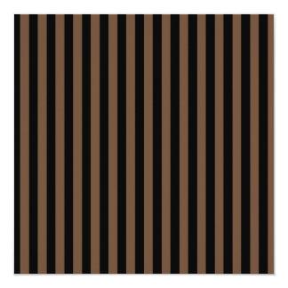 Listras finas - preto e café convite quadrado 13.35 x 13.35cm