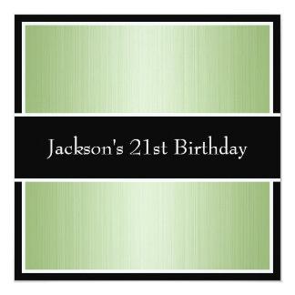 Listras finas verdes preto & branco da festa de convite quadrado 13.35 x 13.35cm