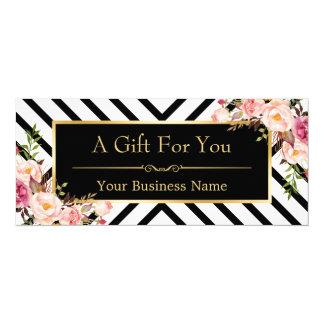 Listras florais do ouro do certificado de presente convite 10.16 x 23.49cm