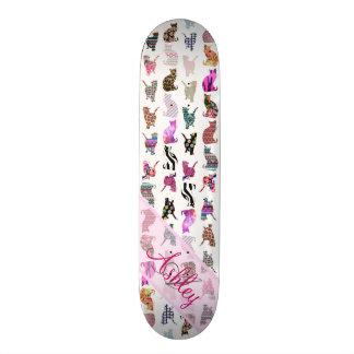Listras florais dos gatos lunáticos femininos Mono Skates Personalizados