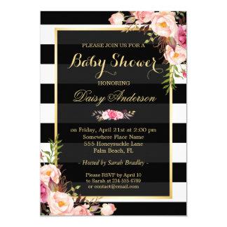 Listras florais elegantes do branco do preto do convite 12.7 x 17.78cm