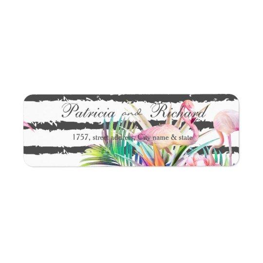 Listras florais tropicais dos flamingos que etiqueta endereço de retorno