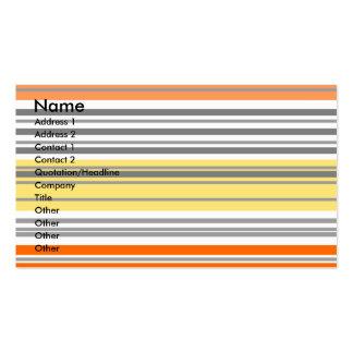 Listras horizontais alaranjadas e amarelas cartão de visita