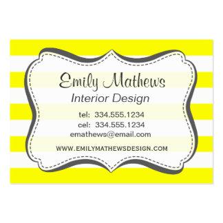 Listras horizontais amarelas elétricas cartão de visita grande