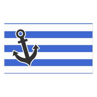 Listras horizontais azuis de Han; Âncora náutica Cartão De Visita