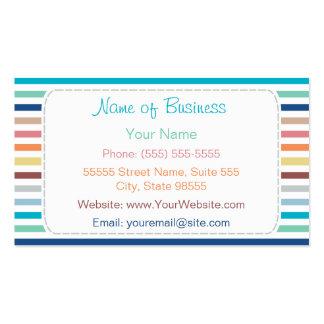Listras horizontais do arco-íris na moda com cartão de visita
