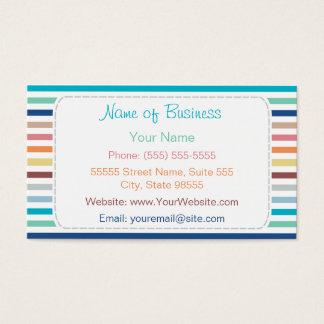Listras horizontais do arco-íris na moda com cartão de visitas