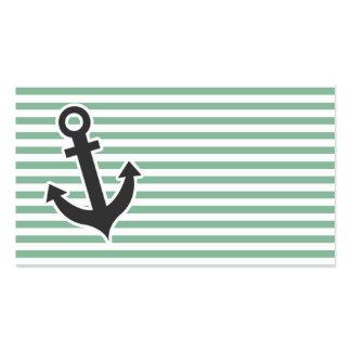 Listras horizontais escuras do verde de mar; cartão de visita