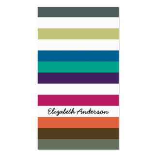Listras horizontais grandes e nome do arco-íris cartões de visitas