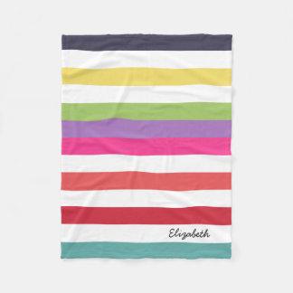 Listras horizontais largas do arco-íris feminino cobertor de lã