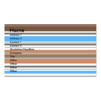 Listras horizontais marrons e azuis contemporâneas cartão de visita