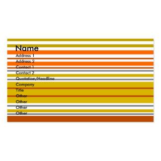 Listras horizontais modernas da laranja e do ouro cartão de visita