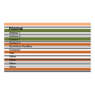 Listras horizontais modernas do pêssego e do musgo cartão de visita