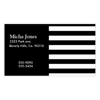 Listras horizontais preto e branco à moda cartão de visita