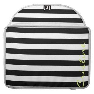 listras horizontais preto e branco com nome bolsa para MacBook pro