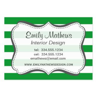 Listras horizontais verdes de Kelly; Listrado Cartões De Visitas