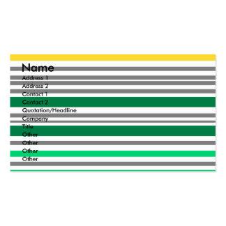 Listras horizontais verdes e amarelas modernas cartão de visita