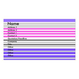 Listras horizontais violetas e cor-de-rosa cartão de visita