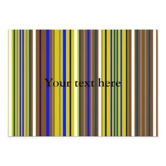 Listras modernas do marrom azul e do branco convite 12.7 x 17.78cm