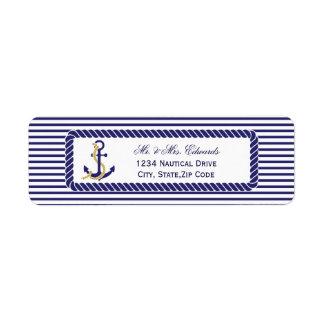 Listras náuticas elegantes do marinho do casamento etiqueta endereço de retorno