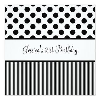 Listras pretas & brancas da festa de aniversário convite quadrado 13.35 x 13.35cm