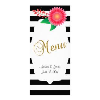 Listras pretas & brancas, flores cor-de-rosa do 10.16 x 22.86cm panfleto