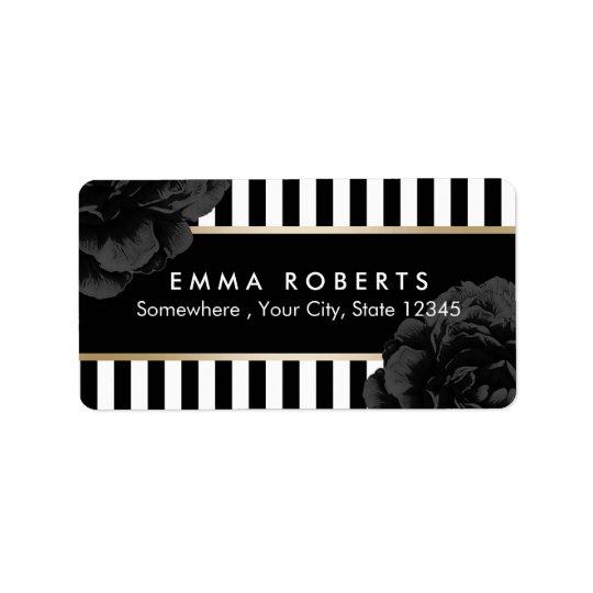 Listras pretas & brancas modernas florais pretas etiqueta de endereço