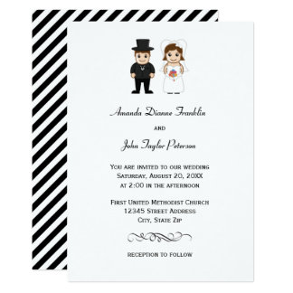 Listras pretas da noiva & do noivo - convite do