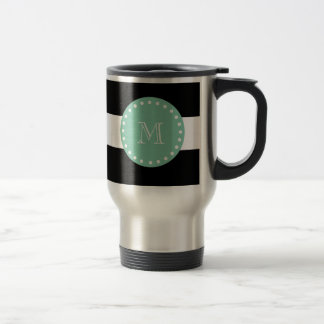 Listras pretas teste padrão, monograma verde da caneca térmica