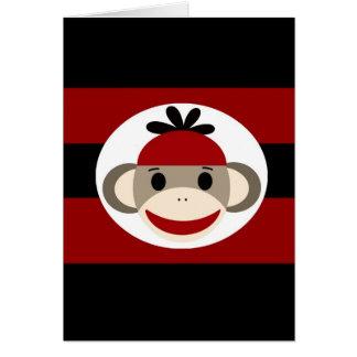 Listras pretas vermelhas do chapéu legal do Beanie Cartão Comemorativo