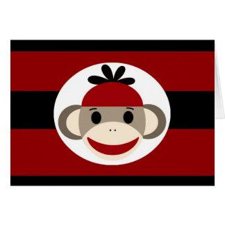 Listras pretas vermelhas do chapéu legal do Beanie Cartão De Nota