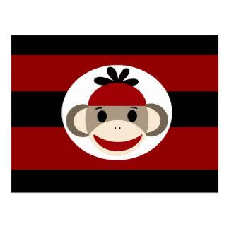 Listras pretas vermelhas do chapéu legal do Beanie Cartão Postal