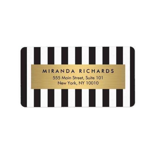 Listras preto e branco corajosas Luxe com bar de Etiqueta De Endereço
