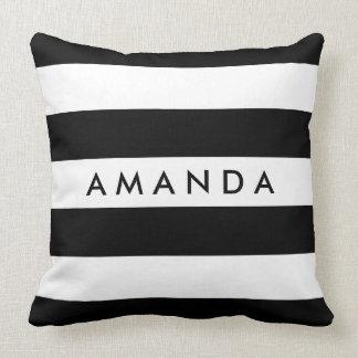 Listras preto e branco elegantes - personalize o almofada