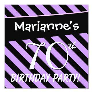 listras roxas e pretas D419 do aniversário do 70 Convites Personalizado