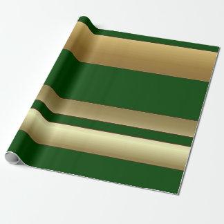 Listras verde e papel de envolvimento dourado papel de presente
