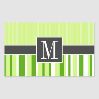 Listras verdes bonitos; Listrado Adesivo Retangular